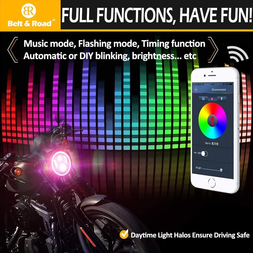 7 Inch LED Headlight Harley Street Glide Special Road King Special Headlamp Hi-Lo Beam Projector with RGB Music Halo Cellphone Bluetooth Controlled Multicolor Angel Eye with Bracket
