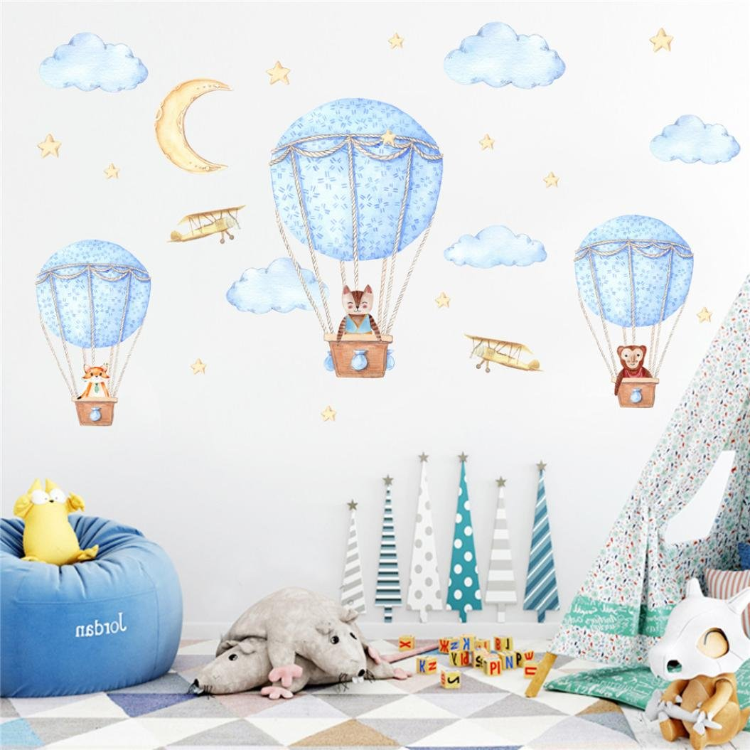 Animal and Hot Air Balloons Kids Wall Decals Wall Stickers Removable Wall Stickers for Kids Nursery Bedroom Living Room (Multicolor) Allywit CXY71227818