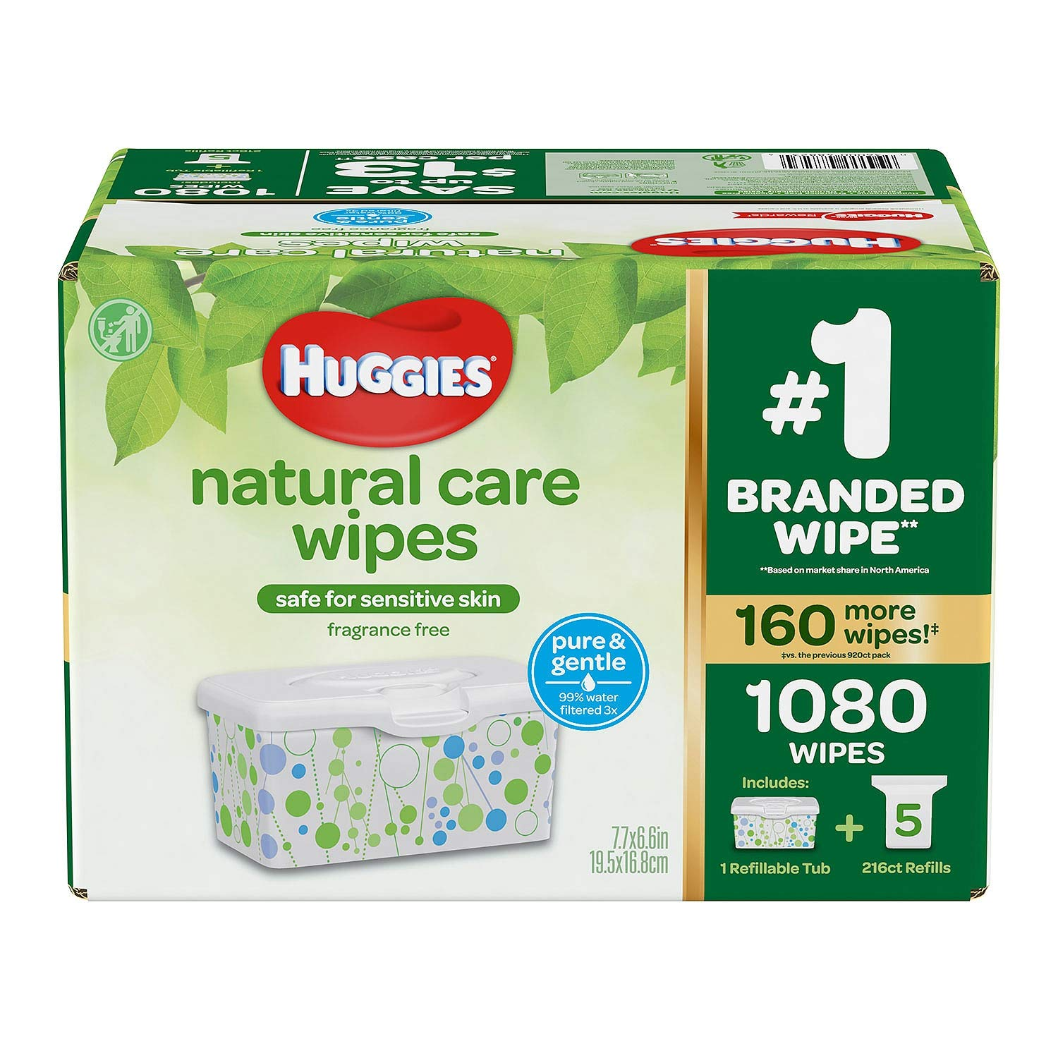 Huggies Natural Care Baby Wipe Refill- Fragrance Free (1,080 ct.)