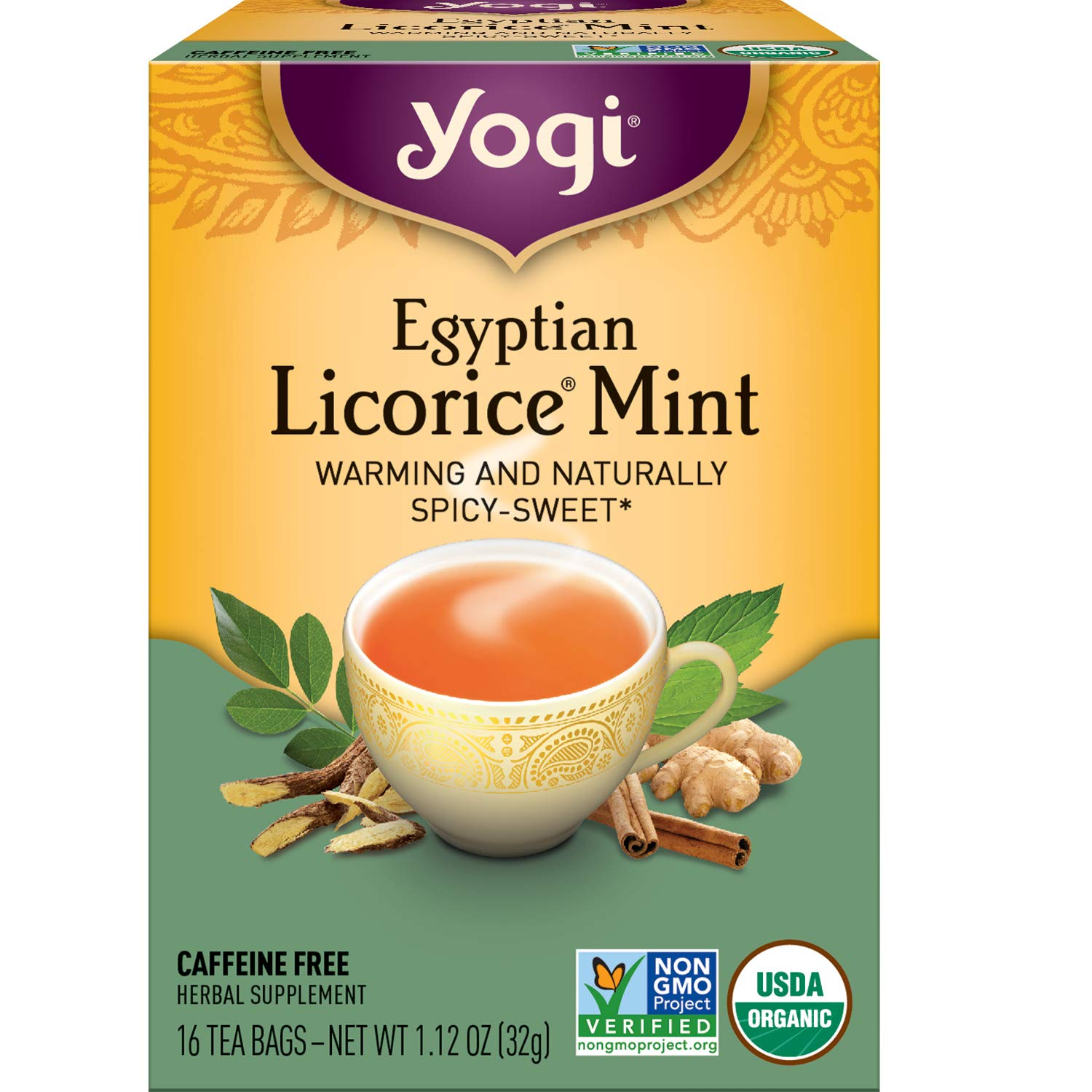 Yogi Tea - Egyptian Licorice Mint (4 Pack) - Warming and Naturally Spicy Sweet - 64 Tea Bags