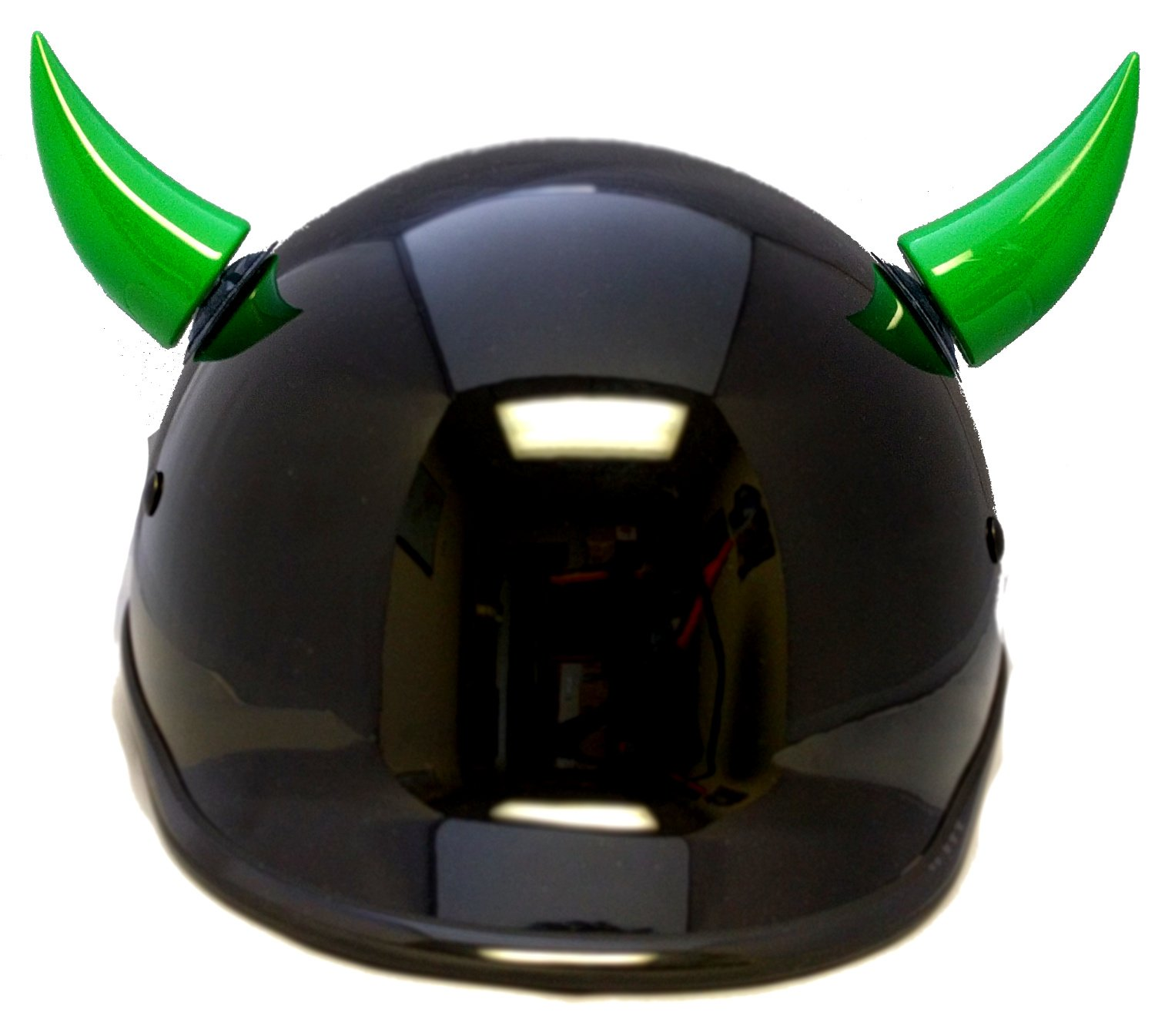 Stick on Suction Cup Car Motorcycle Ski Bike Helmet Spike Horns (2 horns included) (Green)