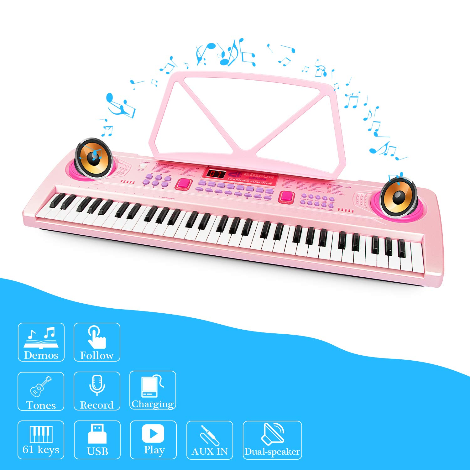aPerfectLife 25'' Charging Piano Keyboard for Kids 61 Keys Multifunction Portable Piano Electronic Keyboard Music Instrument for Kids Early Learning Educational Toy (Pink) by aPerfectLife (Image #2)