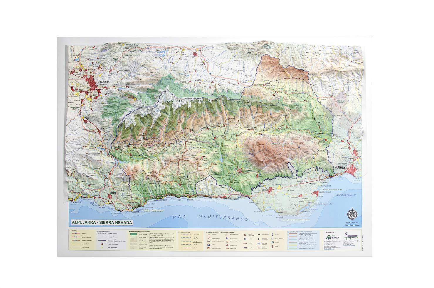 Mapa en relieve de Sierra Nevada - Las Alpujarras: Escala 1 ...