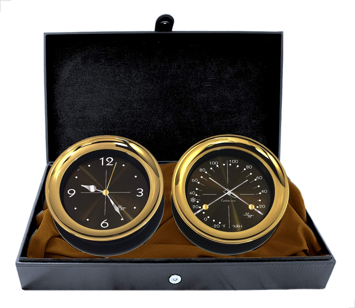 """Master-Mariner Halo Collection Gift Set, 5.85"""" Diameter Clock and Comfort Meter Instruments, Gold and Black Two Tone Finish, Midnight Gold dial"""
