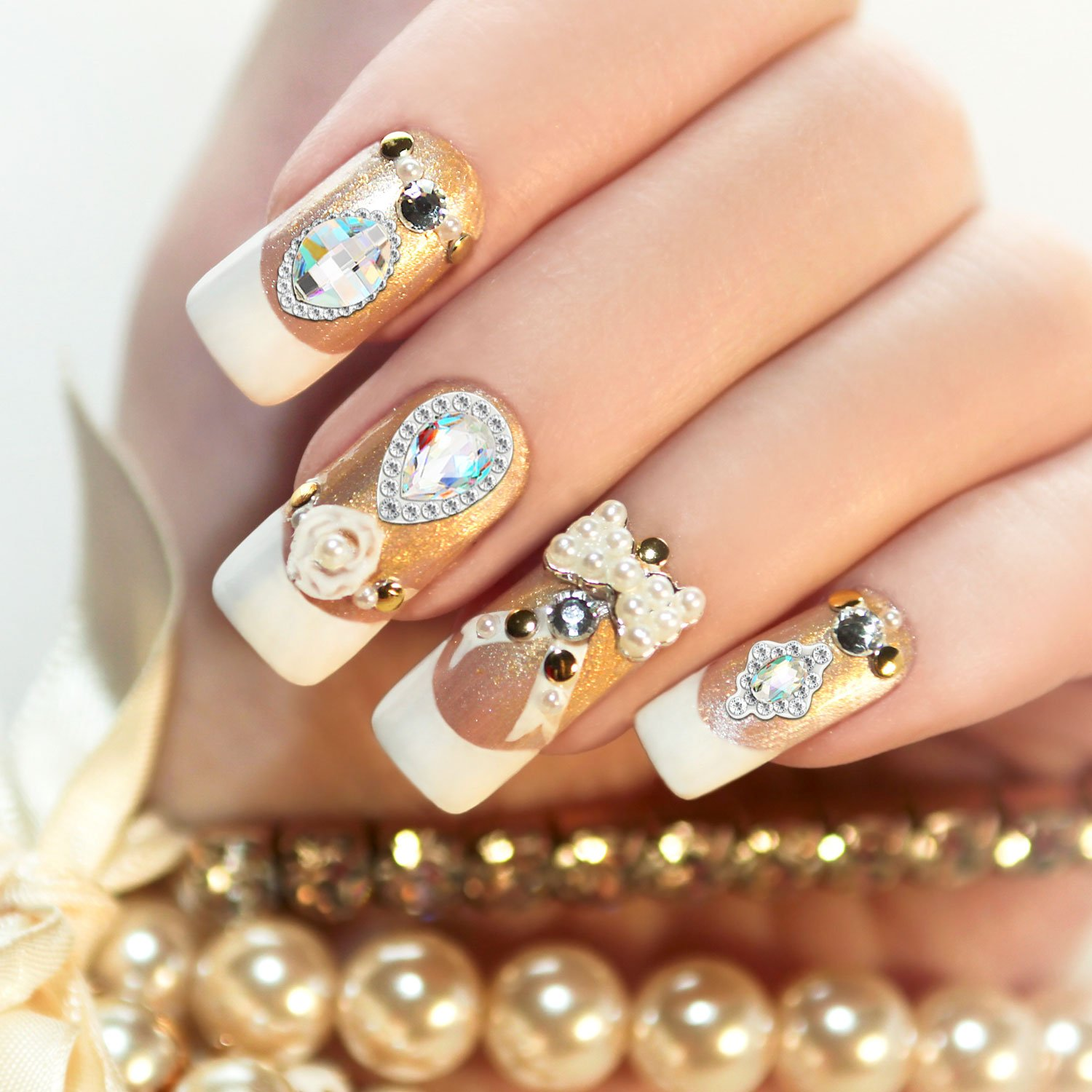 Bememo 36 Pieces 3D Nail Art Rhinestones Crystal Glass Metal Gem Stones Manicure Studs Nail Tips for Nail Art DIY (Style 1) by Bememo (Image #6)