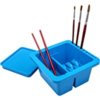 MyLifeUNIT Artist Brush Basin, Multifunction Paint Brush Tub with Brush Holder