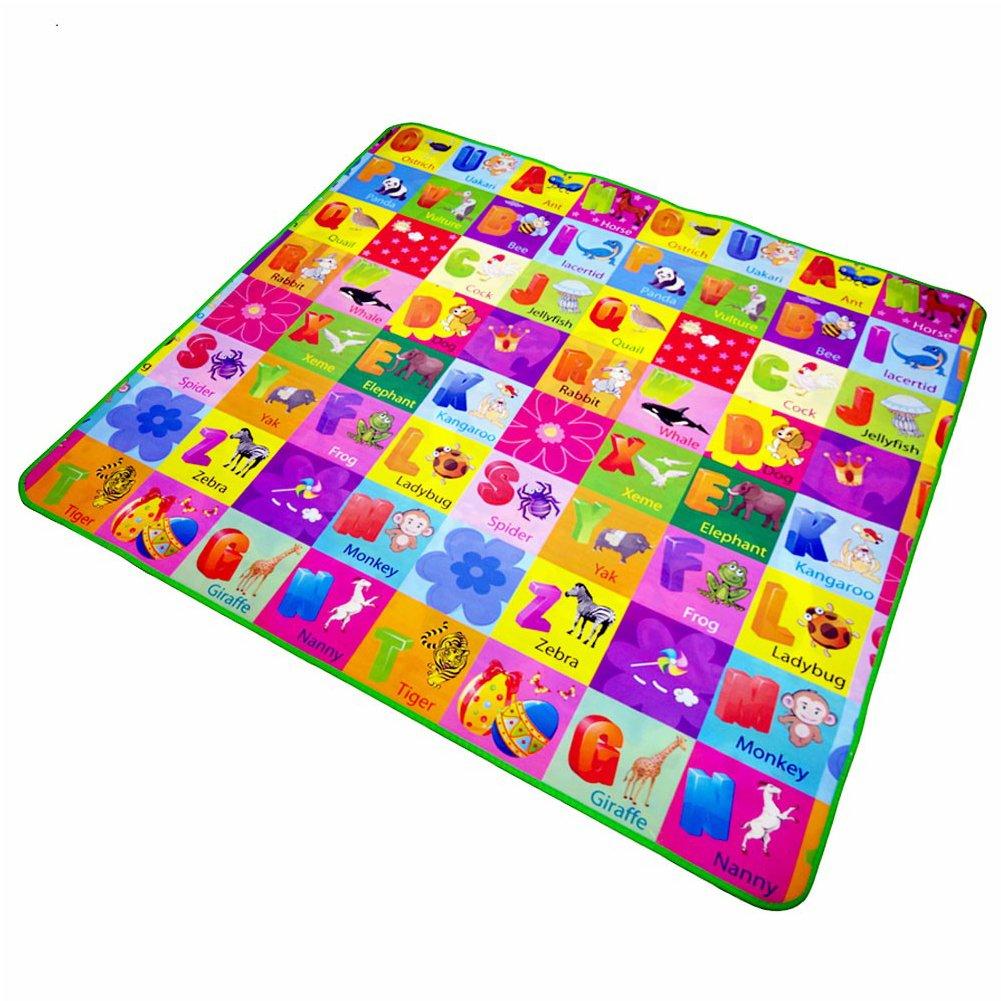 Alfombra educativa para niños de doble cara, alfombra de espuma suave, centro de actividades, manta de picnic, regalo de cumpleaños, regalo de bebé (3 tamaños a elegir) as the picture Talla:1.2*1.8m GEZICHTA