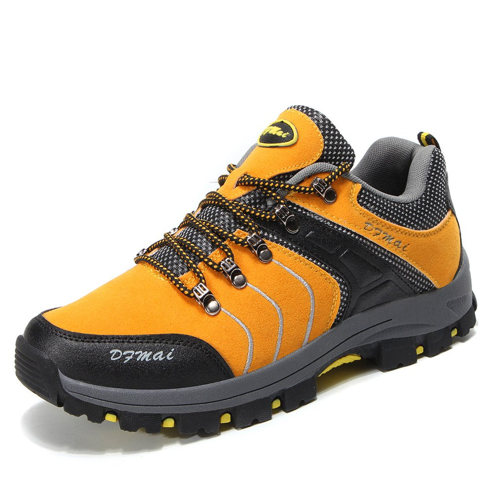 Dexuntong Wanderschuhe Trekking Schuhe Herren Bequeme Sports Outdoor Hiking Sneaker Rutschfest Grü n Gelb Grau 39-44