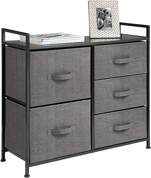 mDesign Cómoda de tela – Estrecho organizador de armarios con 5 ...