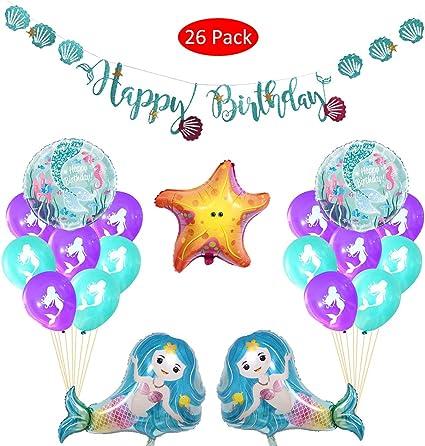 Amazon.com: 26 unidades de globos de sirena para fiestas de ...