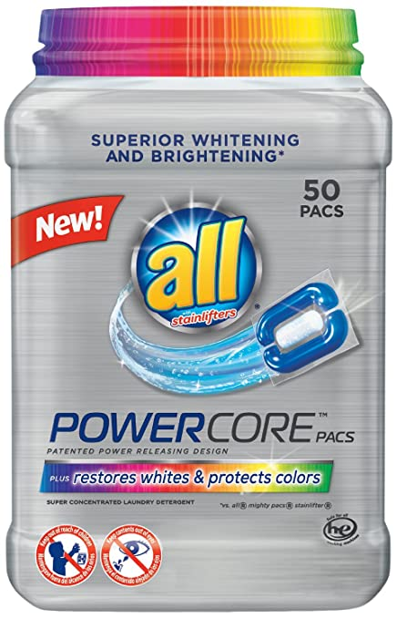 all Powercore Pacs Laundry Detergent Plus Restores Whites & Protects Colors, 50 Count