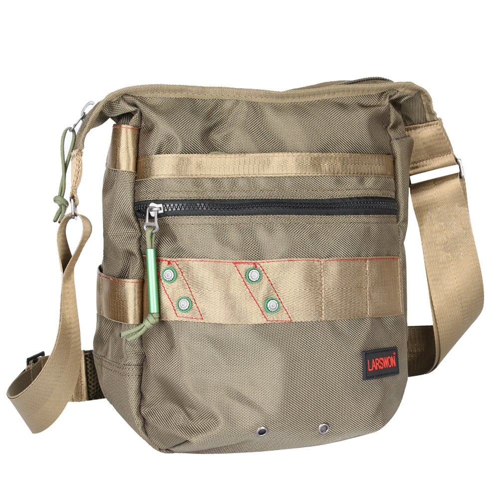 Vertical Messenger Bag, Crossbody Bag, Larswon Shoulder Bag Laptop Bag Satchel for Men Women Army Green