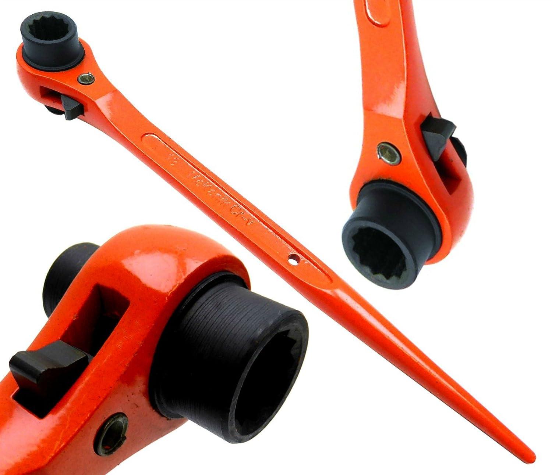 Mekanik Clé d'échafaudage podgers/ Clé à cliquet 10mm x 13mm Hi Viz Finition avec un revêtement en poudre Orange