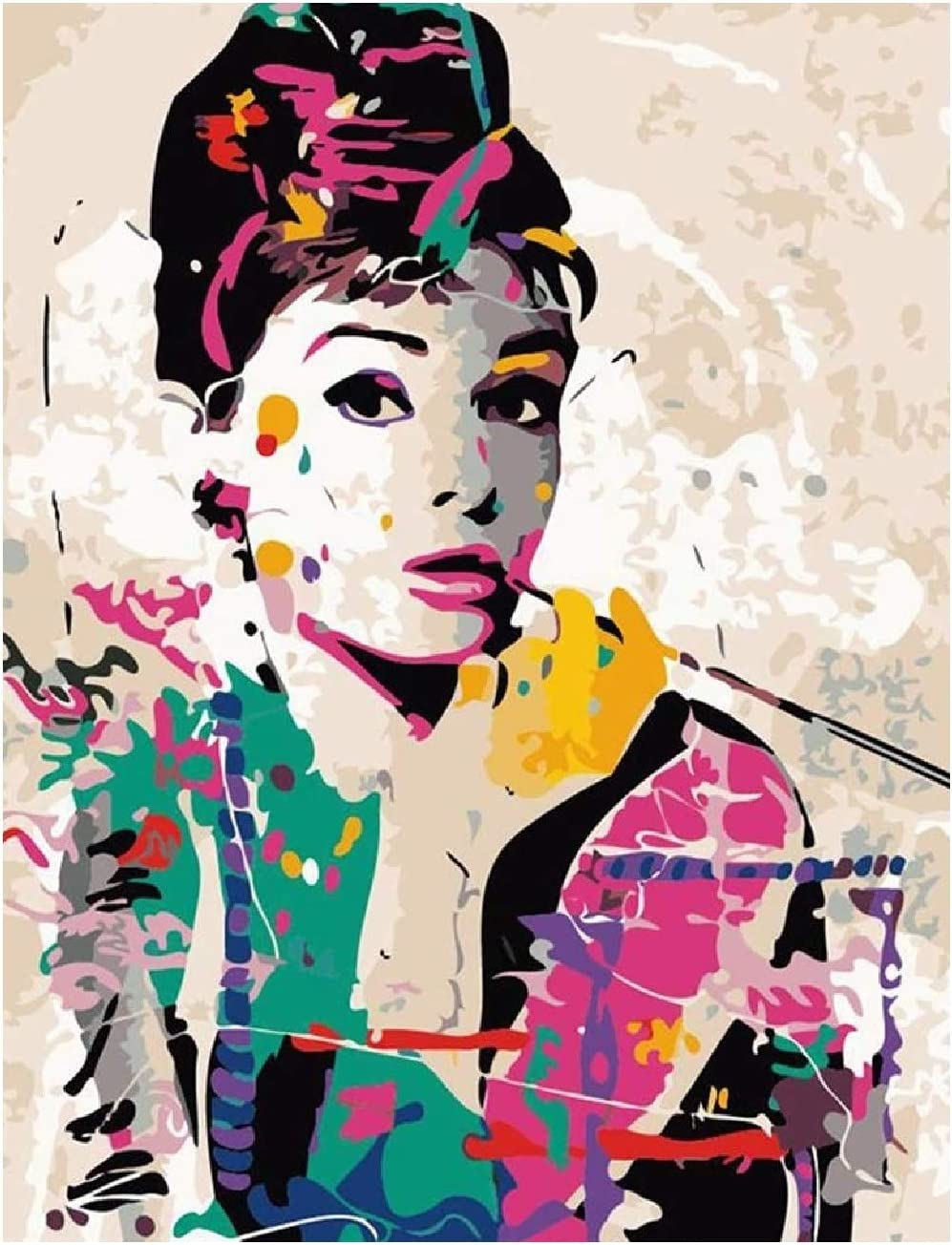 pintura por numero + atril + kit pintura, 41 x 51 cm Audrey