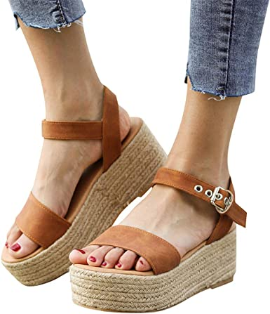Amazon.com: Women's Platform Wedges Woven Sandals Open Toe Ankle ...