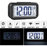 Audew Réveil Silencieux LED Digital Horloge Alarm Rétro-éclairage Date Affichage Température Pour Maison Voiture Voyage Bureau Noir