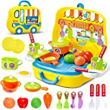 Role Play Kitchen Playset Toy Kids Pretend Cooking Kit Food Set Xmas Gift for Children 3 Years Old (Yellow)