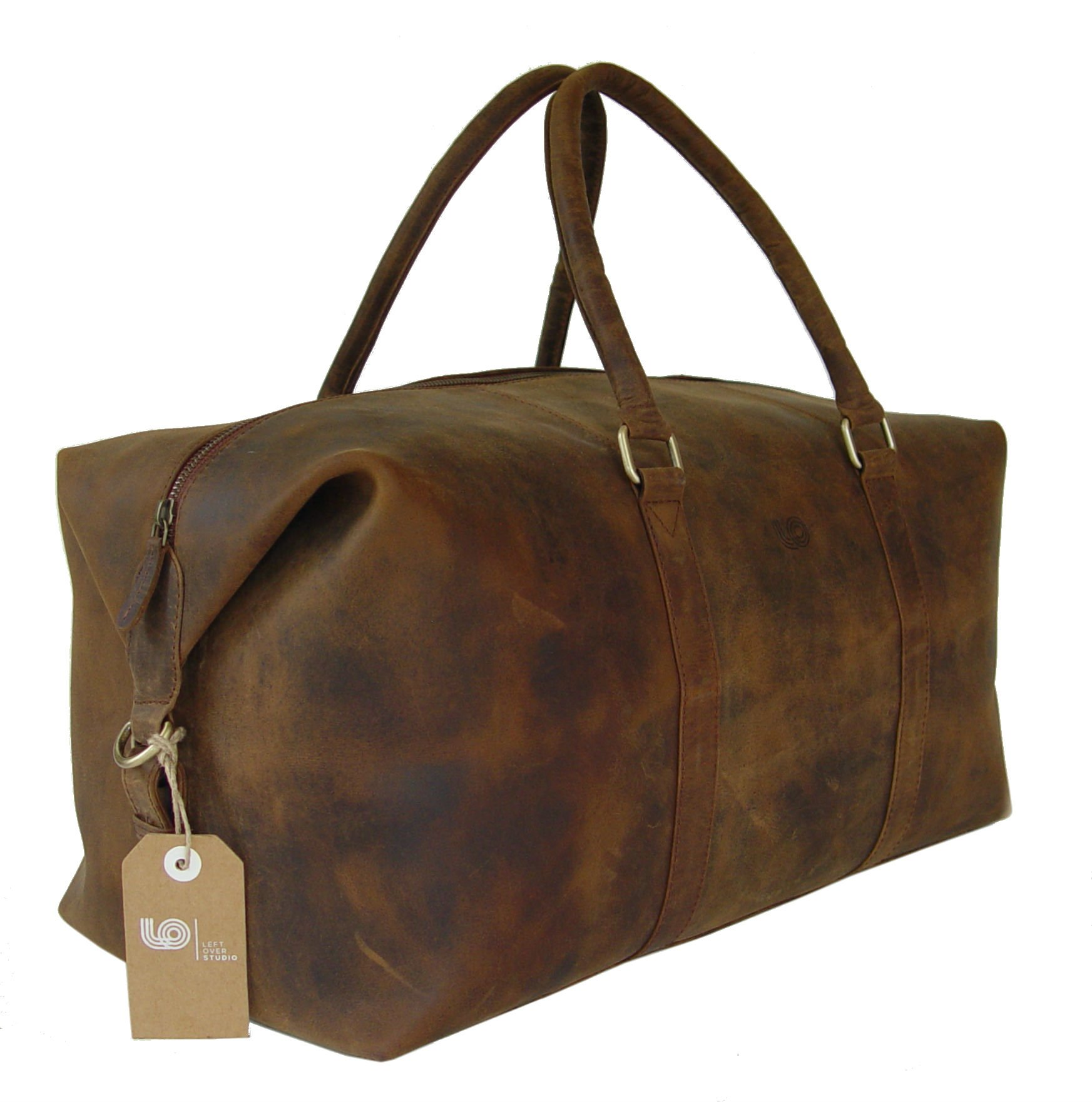 LeftOver Studio Expandable Weekend Overnight Travel Duffel Bag in Thick Oil Pull Hunter Water Buffalo Leather by Leftover Studio (Image #5)
