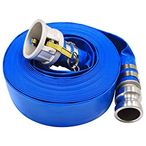 "2"" x 50' Blue PVC Lay-Flat Discharge Hose with Aluminum Camlock C and E Fittings"