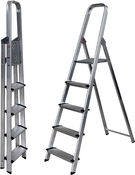 Escalera de Tijera SUPER Aluminio Peldaño Ancho 12 cm (5 Peldaños con Ancho 12 cm). BTF-TJB305: Amazon.es: Bricolaje y herramientas