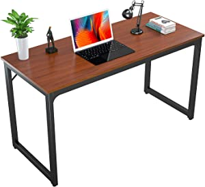 Foxemart Computer Desk Modern Sturdy Office Desk PC Laptop Notebook Study Writing Table for Home Office Workstation, Teak