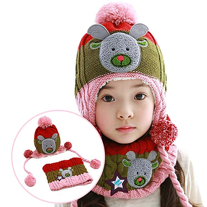 2344b237f1159 Image Unavailable. Image not available for. Colour  Cartoon Christmas Elk  Kids Winter Warm Set for Boys Girls ( Knit Hat ...