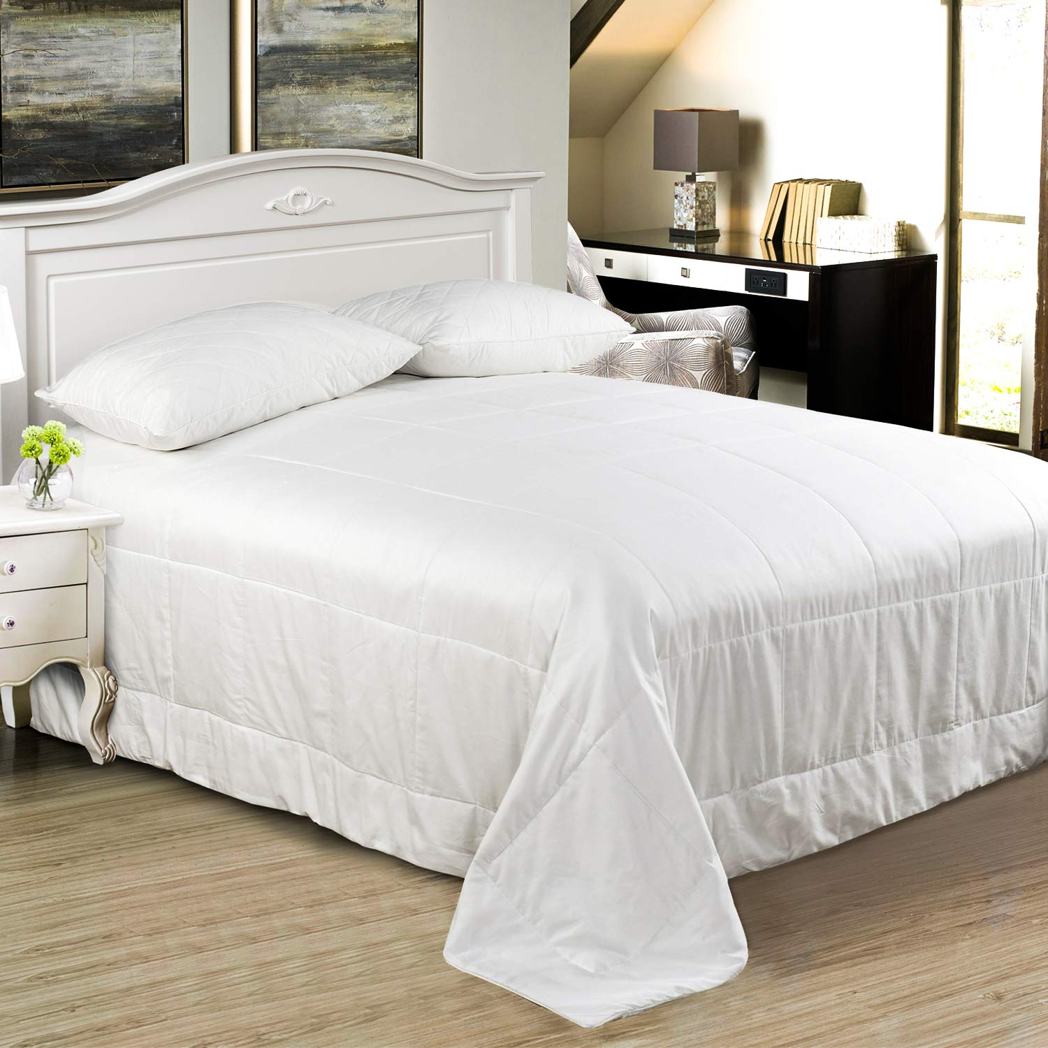 Silk Comforter/Duvet/Quilt, Cool for Fall Season, 100% Natural Long Strand Pure Silk Filled, 100% Cotton Sateen Casing, Breathable Lightweight Highly Ventilated, Long Lasting for All-Season Since Silk