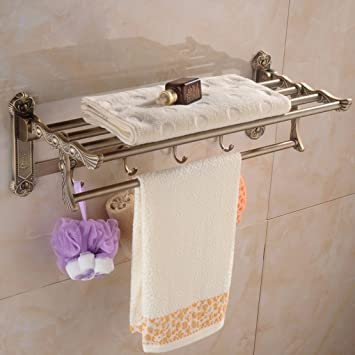 ZHGI Juego de europeo antiguo toalla estante toallas doblado doble actividad estante cuarto de baño: Amazon.es: Hogar