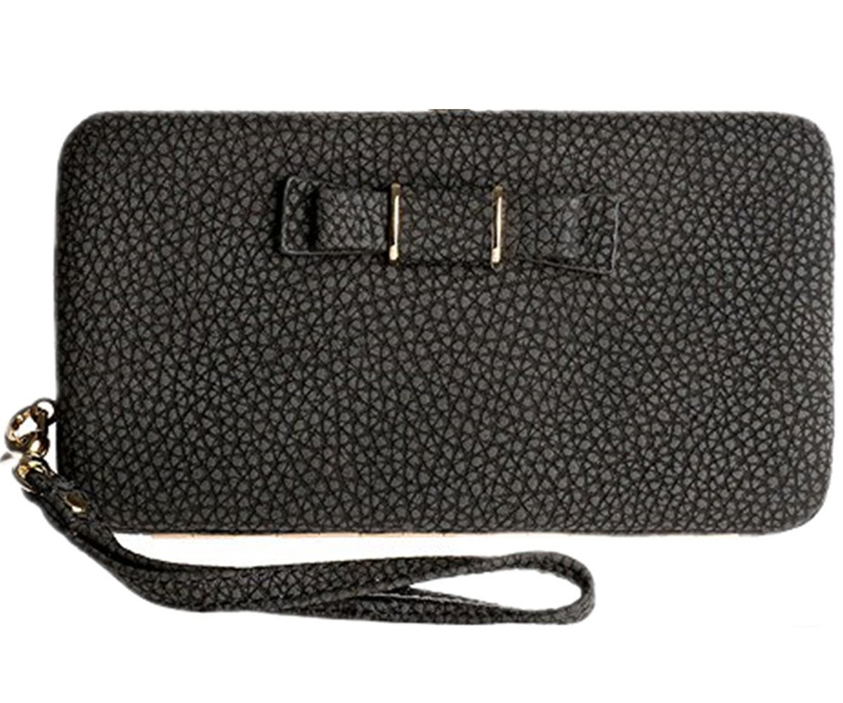 StyleZ Women Lady Leather Wallet Purse Long Handbag Clutch Bag Phone Card Holder (BLACK)