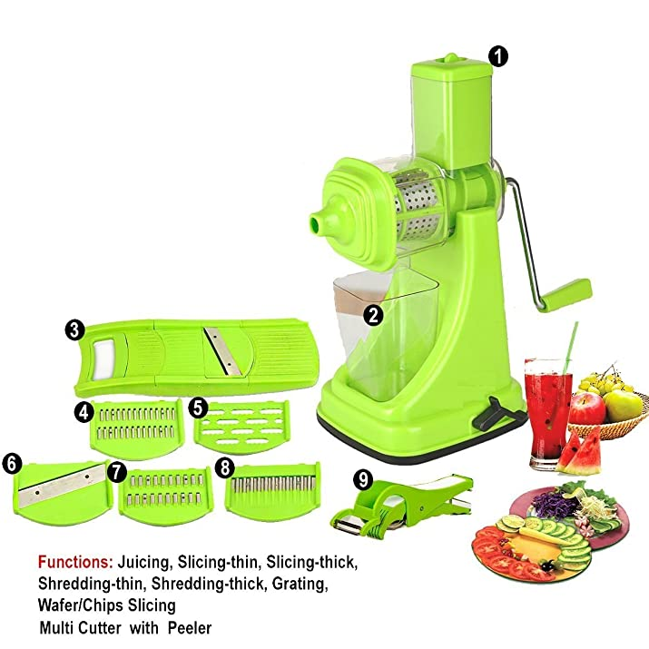 Floraware Plastic Hand Juicer Set, 9-Pieces, Green Kitchen Tools at amazon