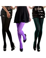 HDE 3 -Pk Womens Tights Microfiber Solid Color Opaque Footed Pantyhose Stockings