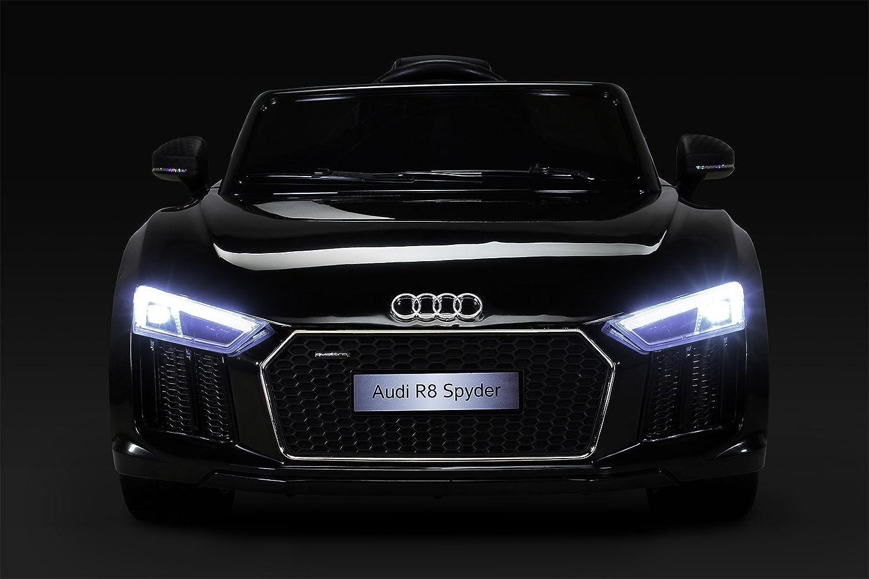 Audi R8 Spyder Kinder Elektroauto, Original lizenziert mit Ledersitz, 2x Motor, 12 V Batterie, 2.4 Ghz Fernbedienung, Soft EVA Räder, Glatter Start, Blautooth (Schwarz)