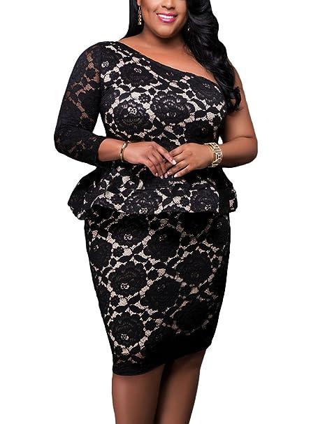 Lalagen Women\'s Plus Size One Shoulder Floral Lace Evening Party Peplum  Dress