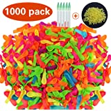 KOMIWOO Water Balloons Refill Quick & Easy Kit, Refill Your Old Straws In a Jiffy - 1000 Balloons + 1000 Rubber Bands + 5 Quick & Easy Refill Tools, Great for Kids Outdoor Sports, Straws Not Included