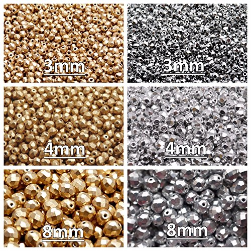 Czech Fire-Polished Glass Beads Round 3mm, 4mm, 8mm, Two colors. Set 2CFP 003 (3FP007 3FP033 4FP033 4FP085 8FP019 8FP033)