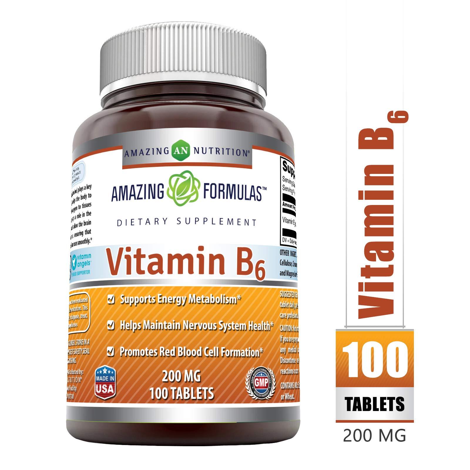 Amazing Formulas Vitamin B6 200Mg 100 Tablets by Amazing Nutrition