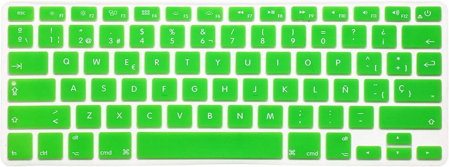 for MacBook Air Pro Retina 13 15 Silicon Black Keyboard Skin Cover Us ES Spain Spanish Laptop Keypad Protector Film-Green