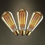 KJLARS 3 x E27 ST64 60W droite chute de fil de tungstène Ampoules Edison Art déco de source de lumière classique