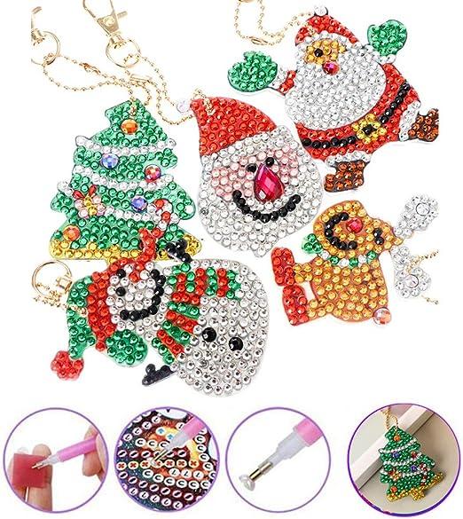 Pendant Xmas Ornament Keyring Diamond Painting Cross Stitch Christmas Keychain