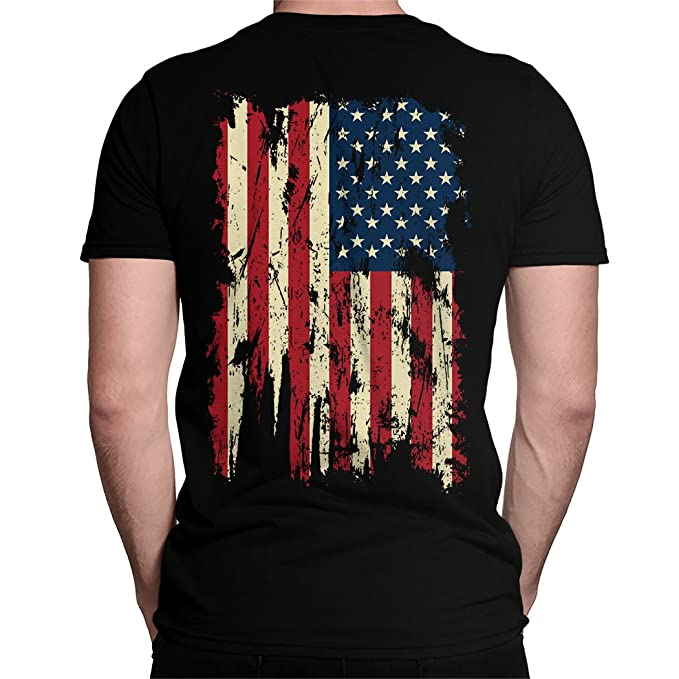 8903b5a780a Amazon.com  Vintage Distressed USA Flag Back Print Men s T-Shirt ...