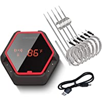 Inkbird Wireless Bluetooth BBQ Thermometer IBT-6XS, 6 Probes,Rechargeable Battery, Digital Cooking Grill Thermometer For…