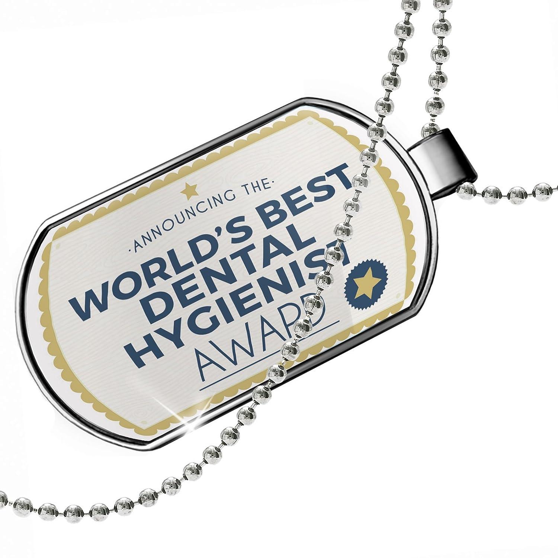 Neonblond Dogtag Worlds Best Dental Hygienist Certificate Award Dog