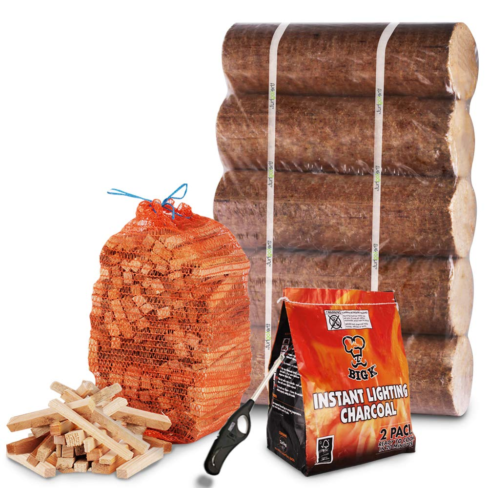 5X Long Lasting 2kg Pizza Fuel logs + 3kg Kindling + 2kg Instant Light the Bag Charcoal + Clipper Lighter - For Pizza Ovens, BBQ, Chiminea, Outside Cooking - Comes with THE LOG HUT® White Woven Sack The Chemical Hut