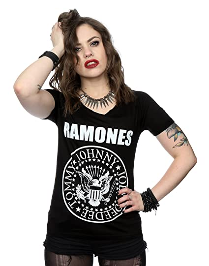 abe9d75be Ramones Women's Presidential Seal Roll Sleeve T-Shirt at Amazon Women's  Clothing store:
