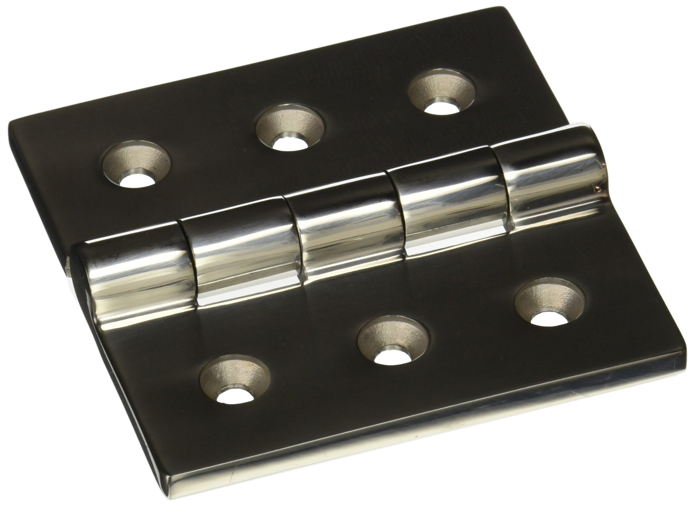 Sugatsune LSF-100 Stainless Steel 316 Butt Hinge with Holes, Mirror Finish, 6mm Leaf Thickness, 100mm Open Width, 8mm Pin Diameter, 100mm Height
