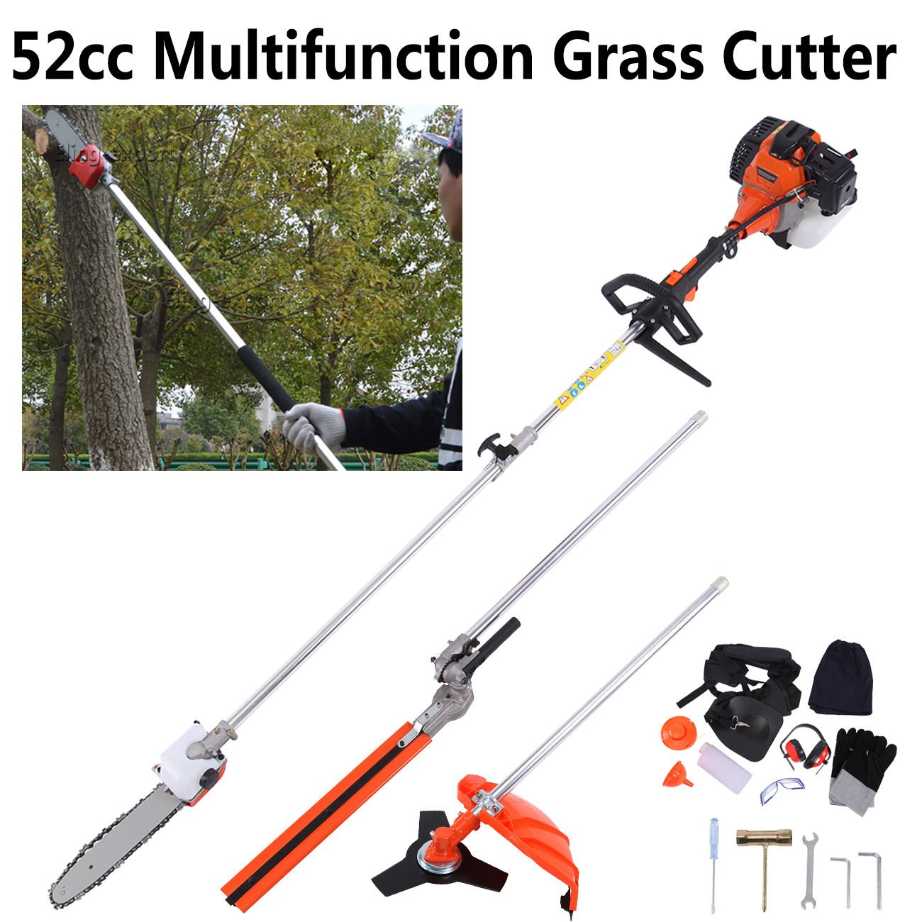 Ridgeyard 52CC Gas Multi-functional 5 in 1 Pole Hedge Trimmer, Trimmer, Brush Cutter, Pole Chainsaw Pruner & 43 inch Extension Pole