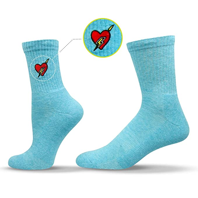 Unisox Fashion Socks - Embroidered Pop Culture Socks - Electric Heart