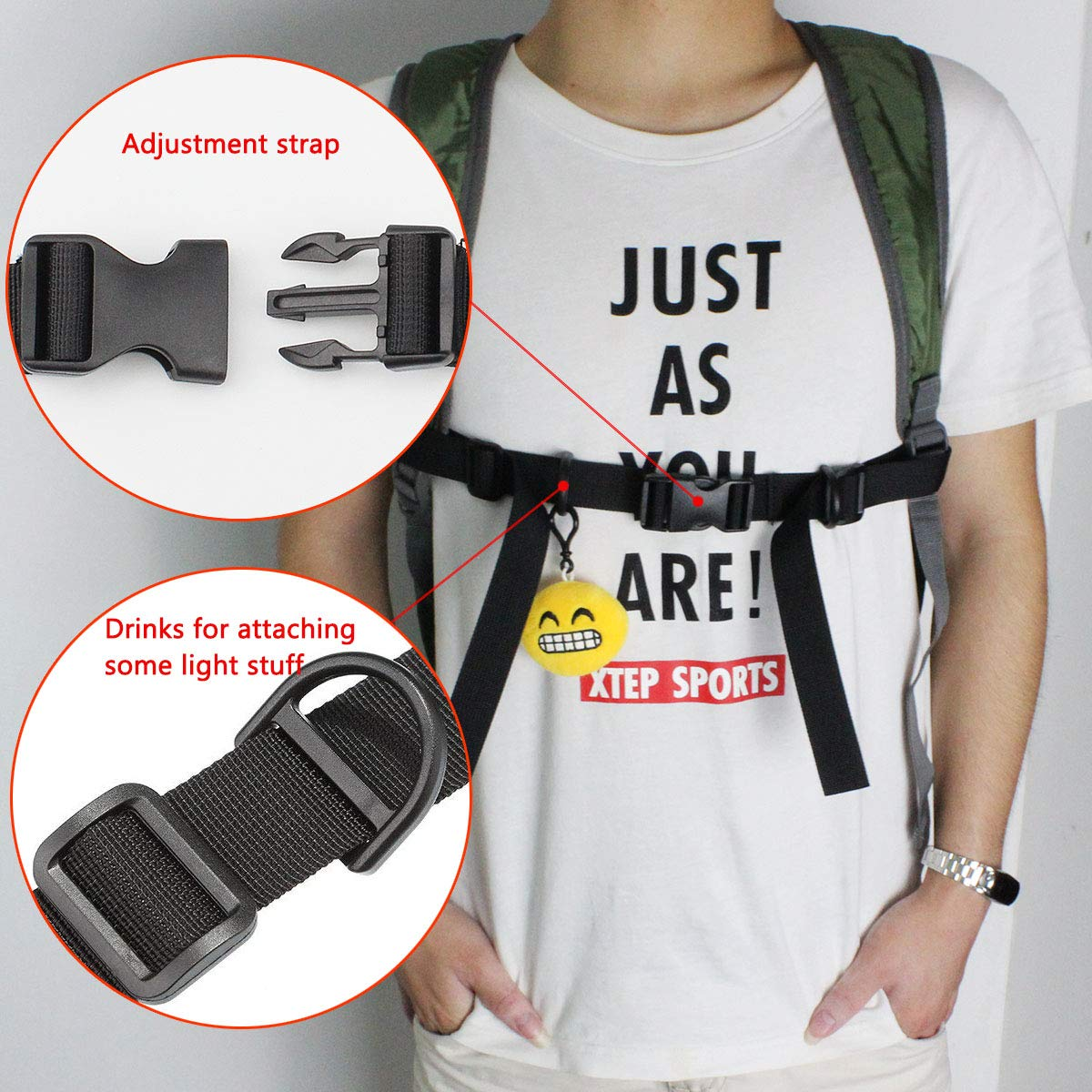 Black Hysagtek 4 Pcs Backpack Chest Strap Adjustable Sternum Strap Backpack Waist Belt for Hiking and Jogging 2.5cm// 1inch