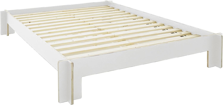 Cabecero de cama sin/180 x 200 cm blanco con somier: Amazon ...