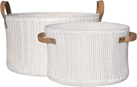 Large Cotton Organizer 13 x 15 Inches Kids Toy Nursery Laundry Hamper Bin with Handle Basket Basket for Baby Blanket Woven Basket Rope Storage Baskets